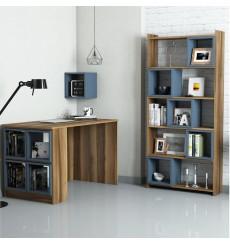 Ensemble bureau et bibliotèque BOX Noyer - bleu