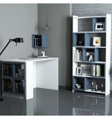 Ensemble bureau et bibliotèque BOX Blanc - bleu