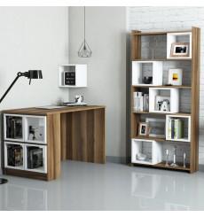 Ensemble bureau et bibliotèque BOX Noyer - blanc