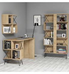 Ensemble bureau, étagère et bibliotèque TAKIMI Chêne