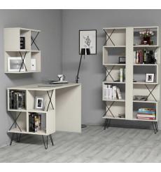 Ensemble bureau, étagère et bibliotèque TAKIMI Crème