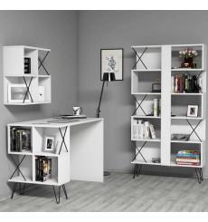 Ensemble bureau, étagère et bibliotèque TAKIMI Blanc
