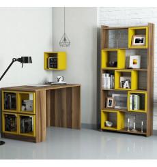 Ensemble bureau et bibliotèque BOX Noyer - jaune