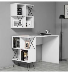 Ensemble bureau et étagère TAKIMI Blanc