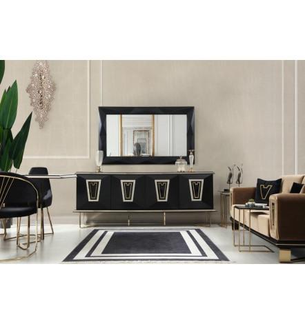 Buffet ARTEMIS NOIR 4 portes 1 tiroir + miroir