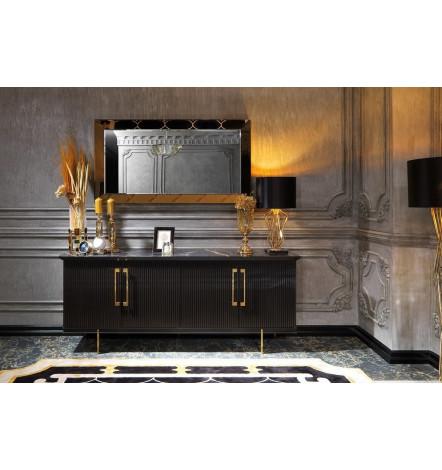 Buffet KREM NOIR 4 portes + miroir