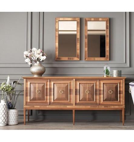 Buffet NEPAL NOYER 4 portes + miroir