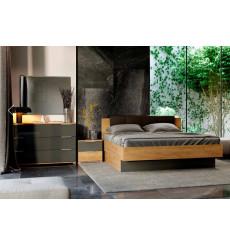 Chambre LINA II , lave mat et chêne clair 180x200 cm