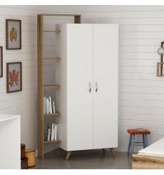 Armoire 2 Portes Blanc Marron 211 x 47 x 108