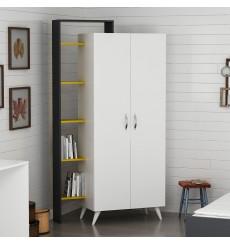 Armoire 2 Portes Blanc Jaune Fonce 211 x 47 x 108