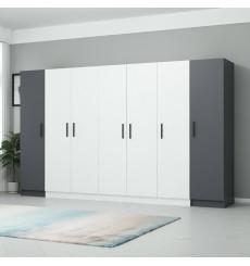 Armoire 6 Portes Blanc anthracite 270 x 52 x 190