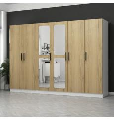 Armoire Miroir 6 Portes Noyer Pera 270 x 52 x 190