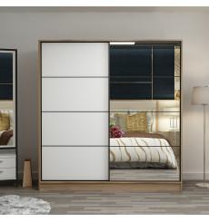 Armoire Coulissante Miroir 2 Portes chêne et Blanc 190 x 60 x 180