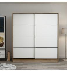 Armoire Coulissante 2 Portes Chêne et Blanc 190 x 60 x 180