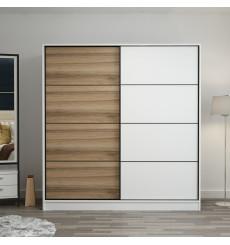 Armoire Coulissante 2 Portes Blanc Chêne 190 x 60 x 180