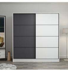 Armoire Coulissante 2 Portes Blanc Anthracite 190 x 60 x 180