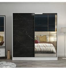 Armoire Coulissante Miroir 2 Portes Blanc Couleur Marbre Royal 190 x 60 x 180