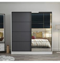 Armoire Coulissante Miroir 2 Portes Blanc Anthracite 190 x 60 x 180