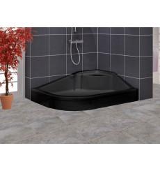 Receveur de douche asymetrique avec assise STERN noir angle droit en plusieurs dimensions