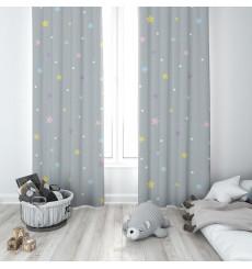 Rideau simple ou double voilage étoiles colorées