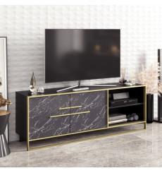 Meuble TV POLKA noir et doré 160 cm