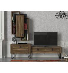 Ensemble meuble TV NOBLE noyer 180 cm