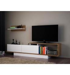 Ensemble meuble TV ASOS blanc noyer 180 cm