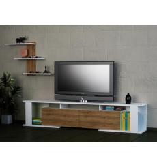 Ensemble meuble TV GAME blanc noyer 180 cm