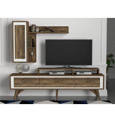 Ensemble meuble TV ROSSO blanc noyer 180 cm