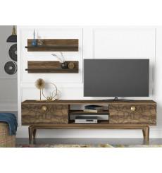 Ensemble meuble TV ROYAL noyer 150 cm