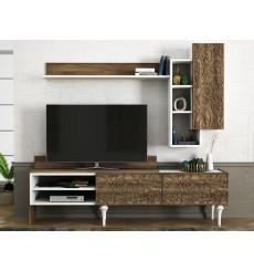 Ensemble meuble TV LENTI blanc noyer 182 cm
