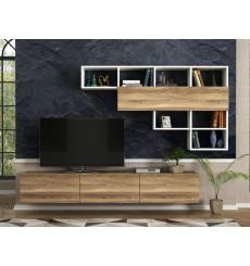 Ensemble meuble TV DAMLA noyer blanc 180 cm