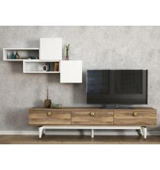 Ensemble meuble TV BUSE noyer blanc 180 cm