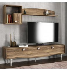 Ensemble meuble TV KUMSAL noyer 180 cm
