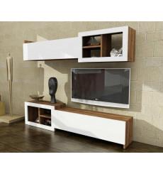Ensemble meuble TV PRAG blanc noyer 160 cm