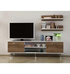 Ensemble meuble TV DERMA blanc noyer 150 cm