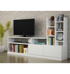 Ensemble meuble TV et bibliothèque DOLUNAY blanc 165 cm
