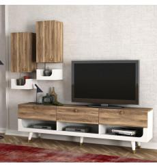 Ensemble meuble TV PRETTY blanc noyer 181 cm