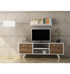 Ensemble meuble TV LIKYA blanc noyer 120 cm