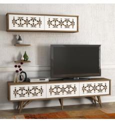 Ensemble meuble TV FLOWER blanc noyer 180 cm
