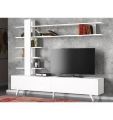 Ensemble meuble TV ALEYNA blanc 180 cm