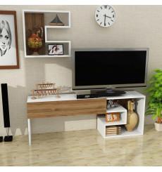 Ensemble meuble TV LEUREN blanc noyer 140 cm