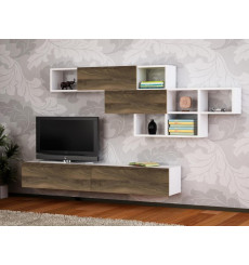 Ensemble meuble TV ARISTO blanc noyer 135 cm
