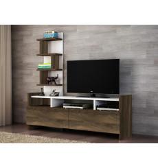 Ensemble meuble TV et bibliothèque ALDORA noyer blanc 124 cm
