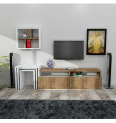 Ensemble meuble TV MISSY blanc noyer 123 cm