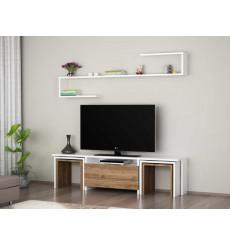 Ensemble meuble TV EGE blanc noyer 140 cm