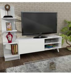 Ensemble meuble TV et bibliothèque SALVADOR blanc 140 cm