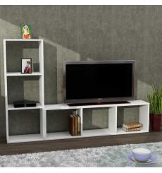 Ensemble meuble TV et bibliothèque NATALIE blanc 123 cm