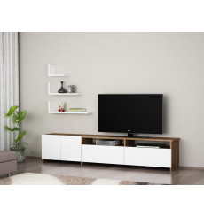 Ensemble meuble TV GELINCIK blanc noyer 180 cm