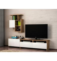 Ensemble meuble TV MARIPOSA blanc noyer 180 cm